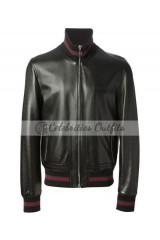 Gucci James Franco Black Bomber Leather Jacket