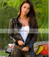Megan Fox Transformers Black Motorcycle Leather Jacket
