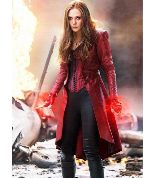Scarlet Witch Captain America Elizabeth Olsen Coat Costume