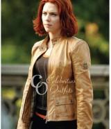 Scarlett Johansson Tan Color Ladies Leather Jacket