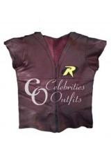 Robin Batman Arkham City Brown Leather Vest Jacket