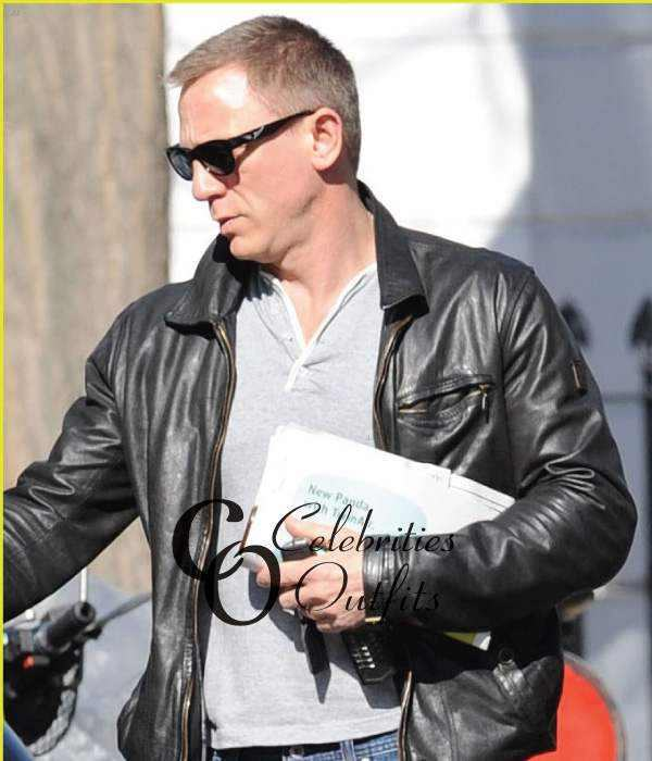 Vanity Fair Daniel Craig Black Leather Jacket