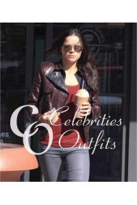 Michelle Rodriguez Brown Jacket in West Hollywood, California