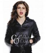 Stylish Alexandra Daddario Black Bomber Designer Jacket