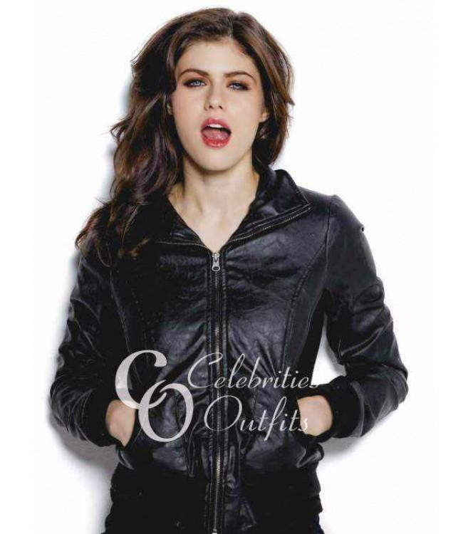 alexandra-daddario-black-bomber-leather-jacket