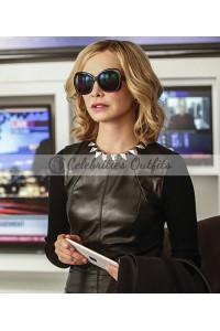 Cat Grant Supergirl S2 Calista FlockHart Black Leather Vest
