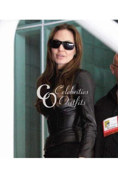 Angelina Jolie Comic Con 2014 Black Motorcycle Leather Jacket