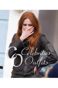 Karen Gillan Doctor Who Amy Black Leather Jacket