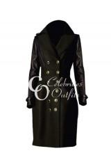 Jennifer Lawrence Trench Black Designer Leather Coat