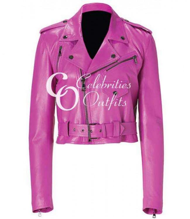 jessica-alba-pink-leather-jacket