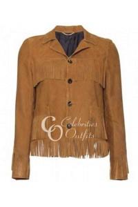 Kate Moss Brown Fringe Leather Jacket