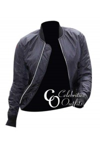 Kim Kardashian Black Bomber Leather Jacket