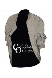 Kim Kardashian Green Designer Bomber Leather Jacket