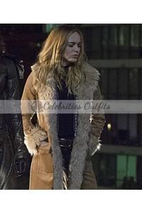 Caity Lotz Legends Of Tomorrow Sara Lance Fur Coat