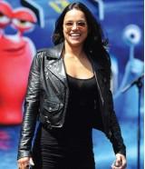 Michelle Rodriguez Black Jacket at Turbo Press Event