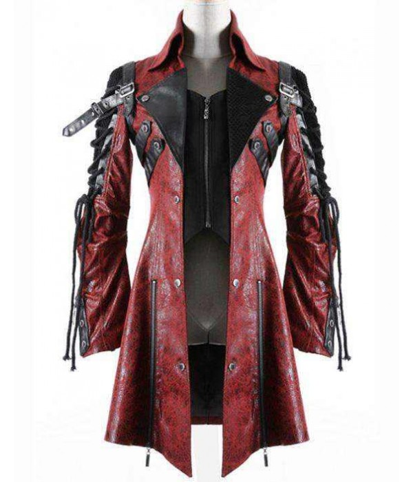 Steampunk Poison Goth Women Leather Jacket Coat