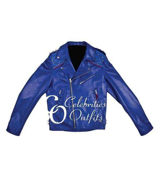 rita-ora-studded-blue-biker-jacket