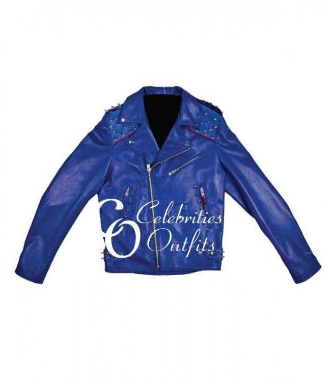 rita-ora-studded-blue-biker-jacket