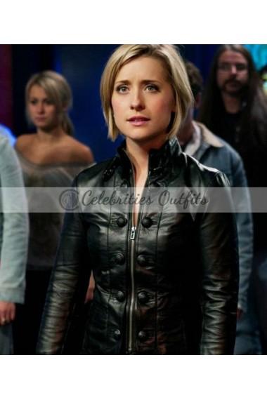 Allison Mack Smallville Chloe Sullivan Black Leather Jacket
