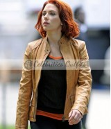 Scarlett Johansson The Avengers Black Widow Tan Leather Jacket