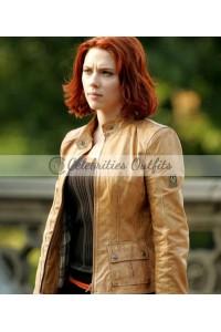 Scarlett Johansson The Avengers Black Widow Tan Leather Jacket