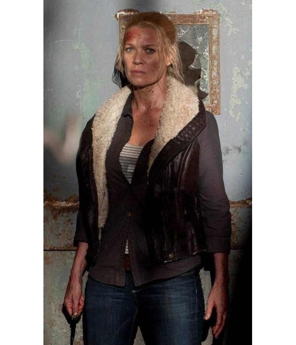 Laurie Holden Walking Dead Fur Leather Vest