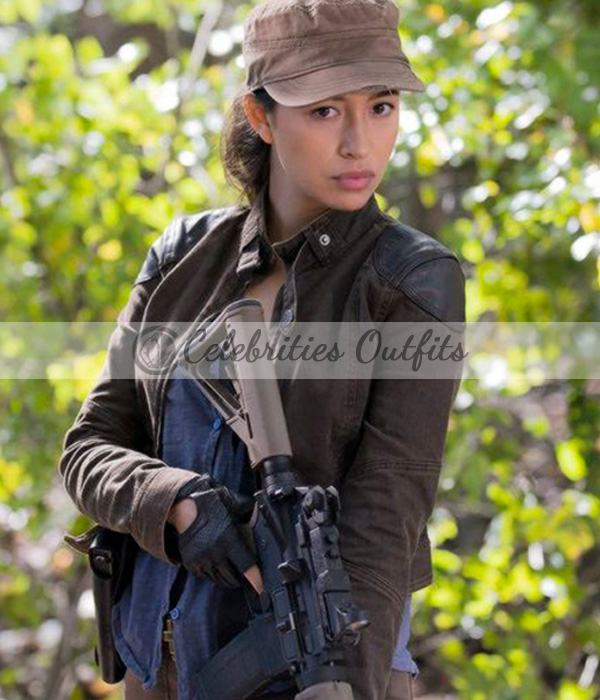 The Walking Dead S6 Christian Rosita Espinosa Brown Leather Jacket