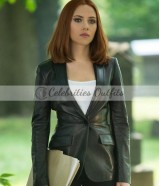 Winder Soldier Scarlett Johansson Leather Blazer