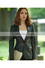 Winder Soldier Scarlett Johansson Leather Blazer