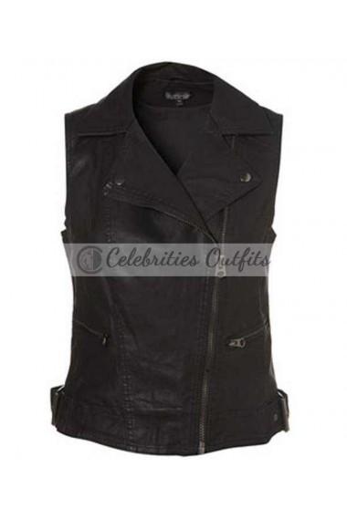 'X Factor' Rhode Island Auditions Demi Lovato Black Leather Vest