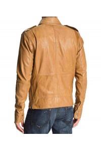 50 Cent Diesel Lisardo Tan Leather Jacket