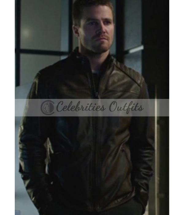 Arrow Oliver Queen Brown Leather Jacket