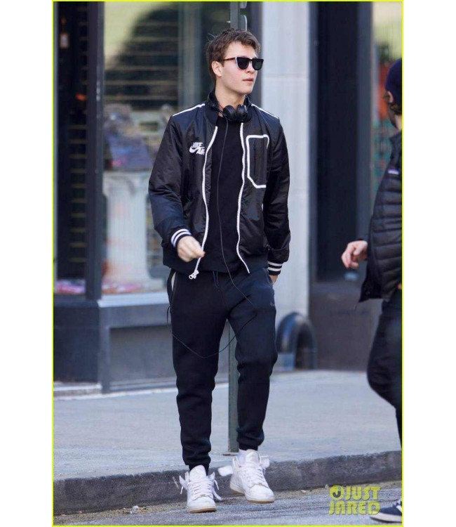 7d91586fe5e2 Ansel Elgort Black Jacket Baby Driver Movie