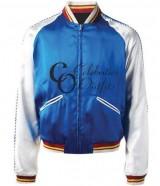 Saint Laurent Blue Bomber Satin Jacket Sale