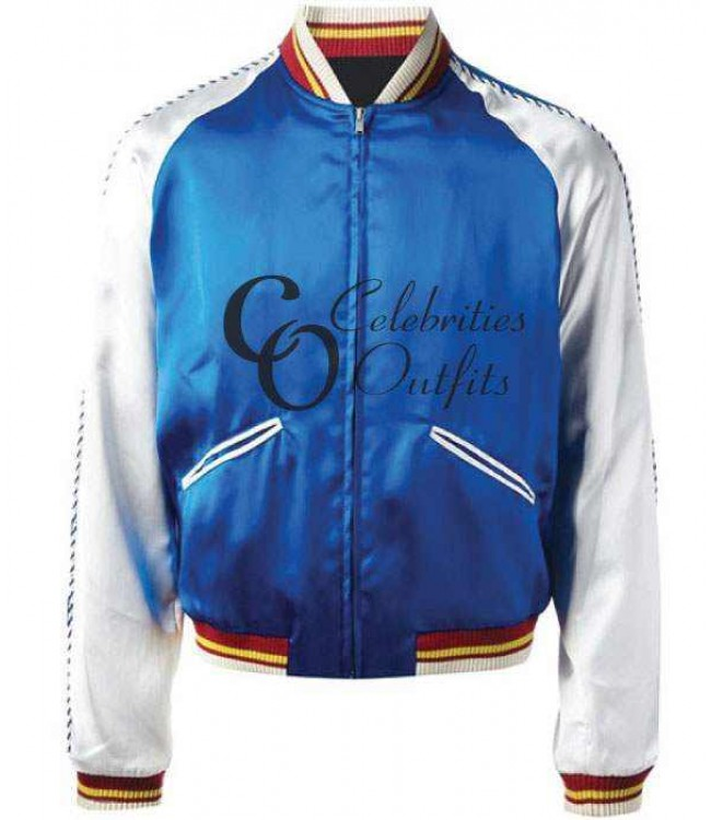 632e9d08ab8 Saint Laurent Blue Bomber Replica Satin Jacket For Sale