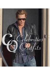 Johnny Depp Charles Mortdecai Black Leather Jacket