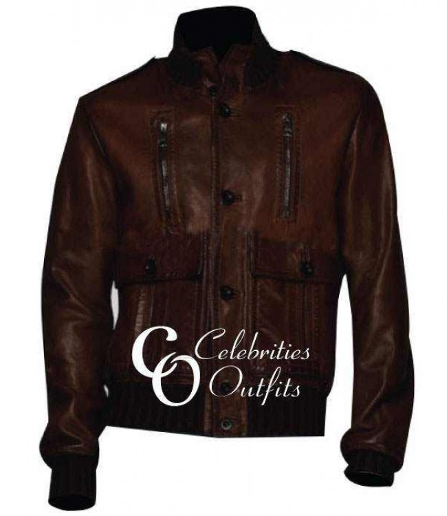 christiano-ronaldo-brown-leather-jacket