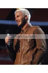 David Beckham Brown Leather Jacket