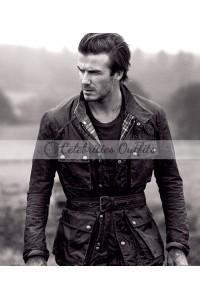 David Beckham Waxed Cotton Motorcycle Jacket