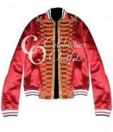Dior Homme Red Bomber Versity Satin Jacket