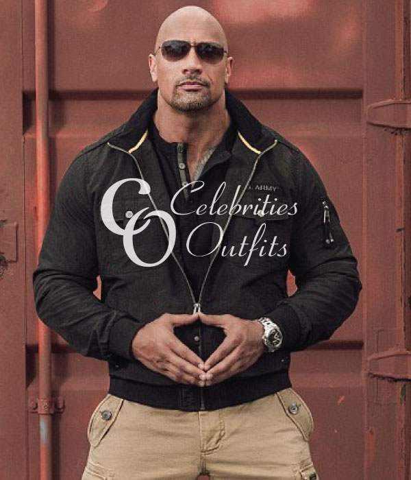 Dwayne Johnson The Rock Black Bomber Cotton Jacket
