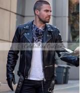 Flash S5 Crossover Oliver Queen Biker Leather Jacket