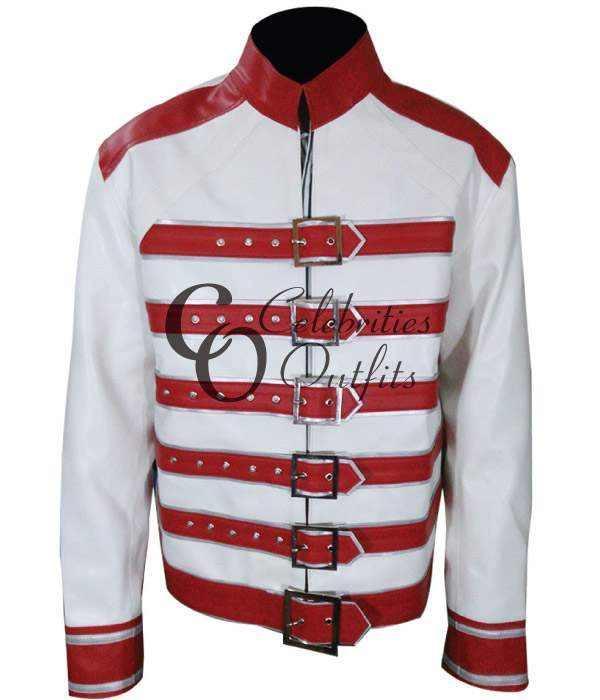 Freddie Mercury White/Red Concert Replica Leather Jacket