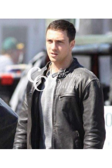 Aaron Taylor Godzilla 2014 Black Leather Jacket