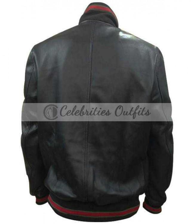 01ad9e584 James Franco Gucci Black Bomber Replica Leather Jacket