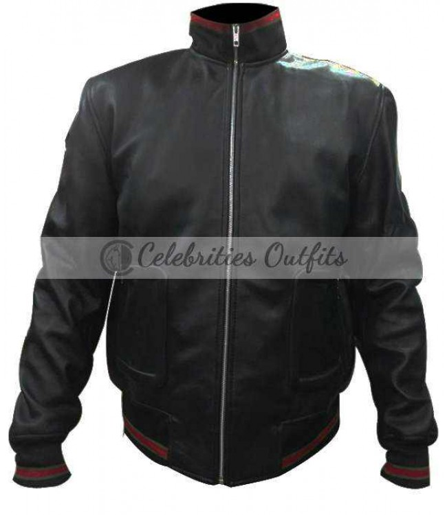 a93b9661eb57 James Franco Gucci Black Bomber Replica Leather Jacket