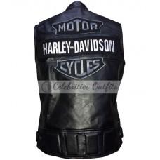 Harley Davidson Style Black Motorcycle Leather Vest