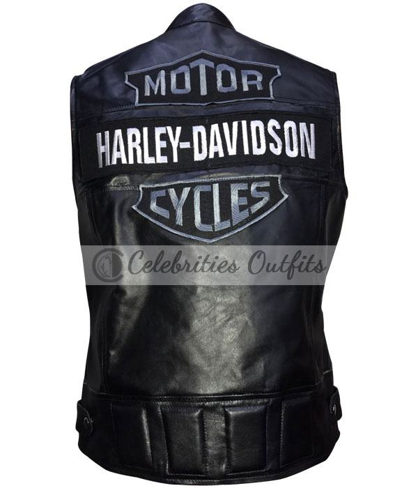 Harley Davidson Style Black Motorcycle Leather Vest