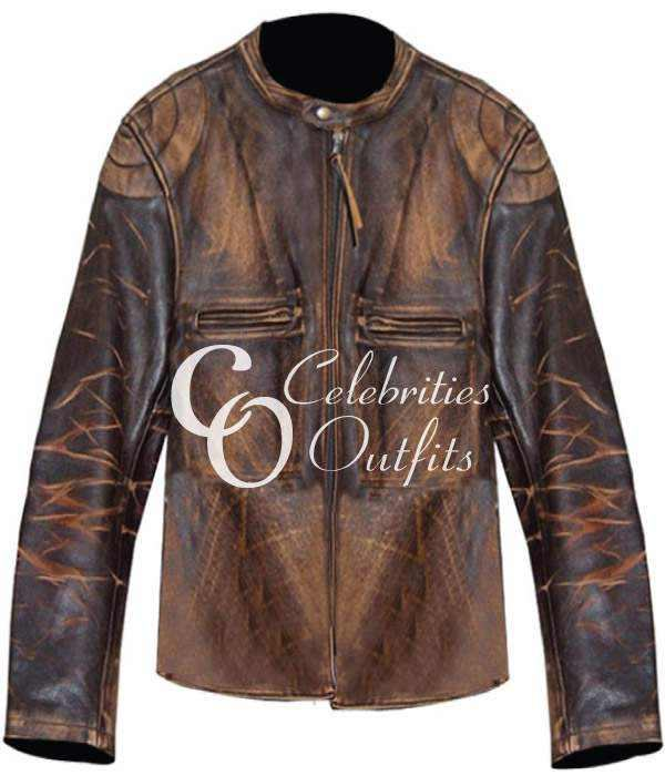 Seth Green Distressed Leather Jacket Italian Job