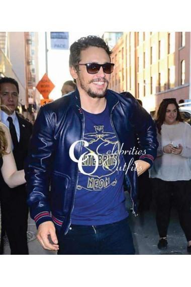 james-franco-blue-bomber-leather-jacket